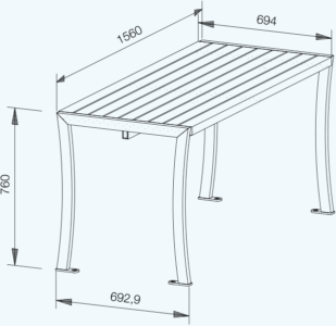 Curvum Tisch technische Zeichnung