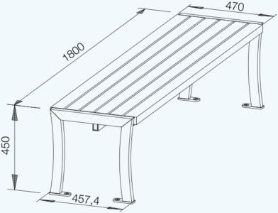 Curvum Hochbank technische Zeichnung