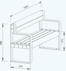 Suspendo mit Armlehne technische Zeichnung